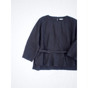 【 miho umezawa 】※お取り寄せ品 NATURAL WASH LINEN belted blose (black)