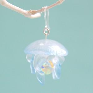 鉱石クラゲ サンシャインミズクラゲの耳飾り(ブルー)