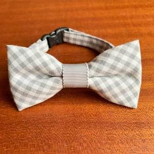 【送料無料】猫の首輪 リボン首輪 グログランリボン BIGリボン 細目チェック&グレー