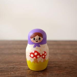木製人形/紫ずきんちゃんのキノコ/箱入り