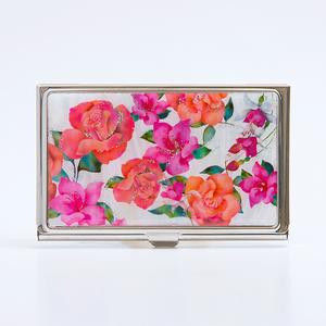 天然貝 名刺カードケース(バラ・フクシア・ツツジ ~愛の花言葉~)<螺鈿アート>