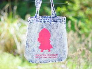 トマずきんちゃんデニムトートバッグ☆中くらい☆くたくたバッグ☆手刷りトートバッグ