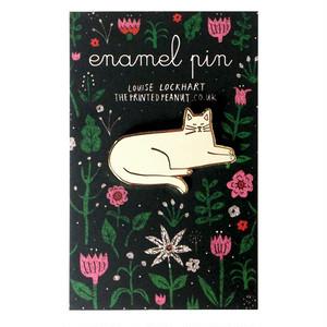 White Cat Enamel Pin