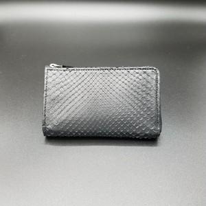 Round Zip Wallet/Diamond Python MAD Black