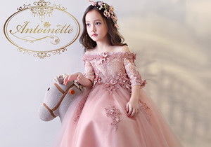 kids baby dress 発表会 ピアノ発表会 演奏会 綺麗 ロングドレス オートクチュール 刺繍 ピンクpink ドレス