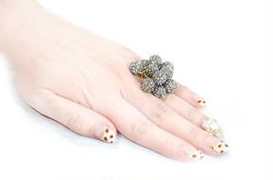 パヴェボールリング pve-ring003 ブラックダイヤモンド