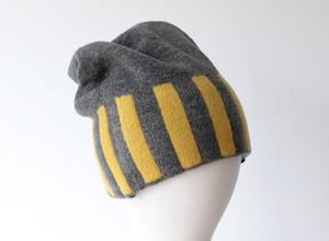 % PERCENT ニット帽 (秋冬用・リバーシブル)セルフヒーター・ホールガーメント・グレー・イエロー(男女兼用)