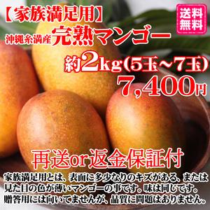 【家族満足用】沖縄糸満産完熟マンゴー約2kg(4~7玉)