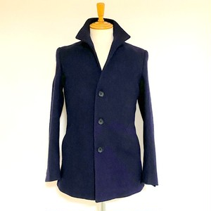 Cashmere Blended Stand Collar Middle Coat Navy