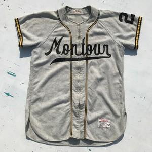 50's 60's Wilson ウールベースボールシャツ Montour ジップアップ SCOVILL グレー 42 USA製 L~XL位 希少 ヴィンテージ