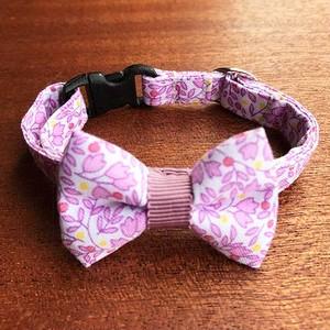 猫の首輪 リボン首輪 グログランリボン 花柄 ライトパープル