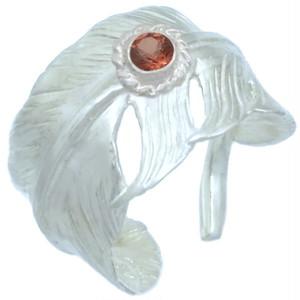 (1月)ガーネット ホワイト フリー フェザー シルバー リング 誕生石*BR-1046