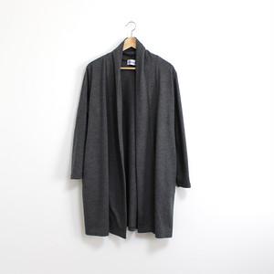 ドレープ衿のロングカーディガン / グレー
