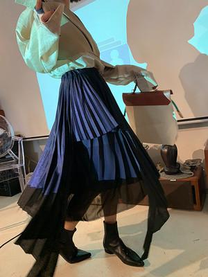 アシメチュールミックスプリーツスカート(2col) 150