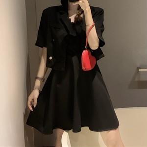 【セット】「単品注文」セレブリティファッション半袖ジャケット+エレガントパーティーキャミワンピース47778090