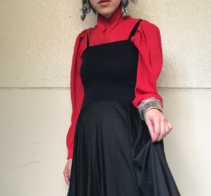 80s red See-through Tuck blouse