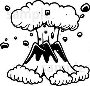 どっかーん!噴火する山 白黒線画