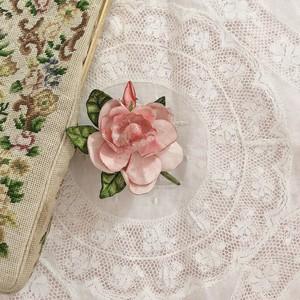 【vintage】brooch/ rose of leather