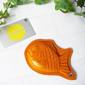 栃木レザーのたい焼きのパスケース(オレンジステッチ)