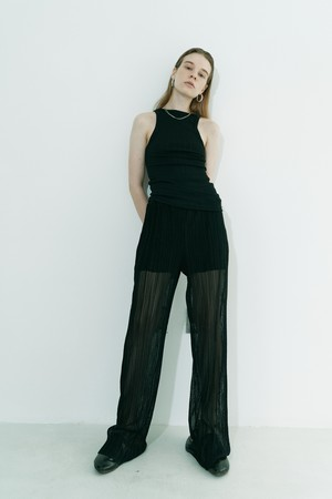 Wrinled see-through  pants / Black
