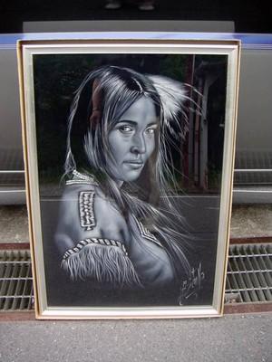 人物画 技法不明 作者不明 額付き 展示美品