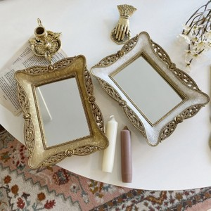 antique square mirror tray 2colors / アンティーク調 スクエア ミラー トレー イタリア 韓国 北欧 雑貨