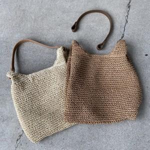 ✔︎2way fake leather hand design paper squareバッグ color/ナチュラル・ブラウン