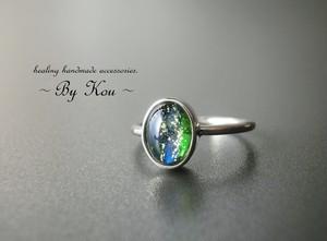 ∽ Vintage Green Opal ∽神秘的なシンプルリング。