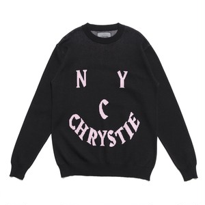 CHRYSTIE NYC / SMILE LOGO KNIT SWEATER -BLACK-