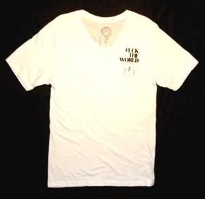 PLAIN JANE HOMME STRUGGLE V-NECK Men's Tシャツ オーガニックコットン100% WHITE