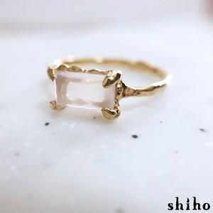 ローズクオーツのリング【Melty ring<square Rose quartz>】