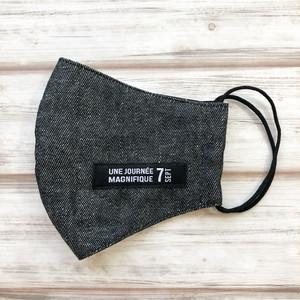 通気性が良くすぐ乾く!黒猫マスク*耳元まで覆う安心横長タイプ【モノトーン黒猫柄×ブラックデニム風コットン】