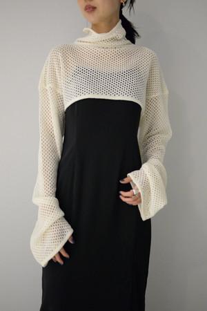 【予約商品】ROOM211 / Mole mesh knit Short TOP(white)