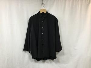 """semoh""""3/4 sleeve wide shirt silk/linen black"""""""