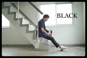 残少! cm002-65  Mens限定カラー ブラックピケ素材トラウザーズ 黒パンツ日本製