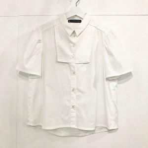 -by RYOJI OBATA 壁シャツ 胸当て切替え white