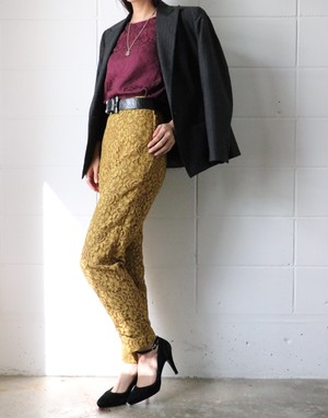 MOSCHINO mustard yellow lace pants
