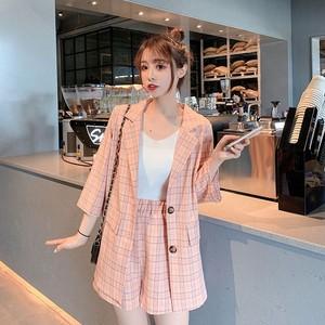 【セットアップ】韓国ファッションチェク柄スーツ+ハイウエストショートワイドレッグパンツ2点セット