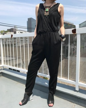 Vintage black cache-coeur jumpsuits ( ヴィンテージ  ブラック カシュクール オールインワン )
