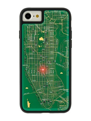 FLASH NY回路地図 iPhone7/8 ケース 緑【東京回路線図A5クリアファイルをプレゼント】