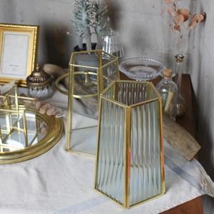 フラワーベースウェーブ 花瓶 フラワーベース おしゃれ インテリア  花瓶 フラワーベース フレームポット ガラス ブラス 角型 ゴールド  ガラスアンティーク風 ボトルベース おしゃれ