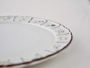 小花 (各 赤、青)7寸輪花皿