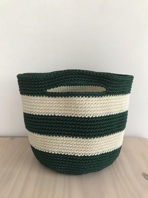 手編みバッグ ボーダートートS 持ち手Sショート 緑 白