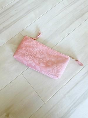 春色小物 ポーチ Lサイズ マチ付き 本革 花柄 ローズ ピンク