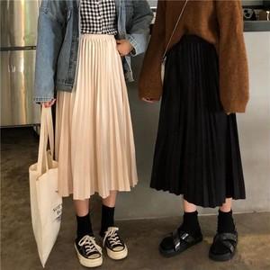 【ボトムス】ハイウエストプリーツスカート