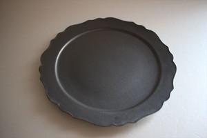 望月万里|軟質陶器 黒 7寸デコリム皿