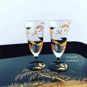 【南天】冷酒グラス1個縁起物花言葉「良い家庭」|両親贈呈品・両親プレゼント・親ギフト・乾杯記念日グラス・結婚祝い