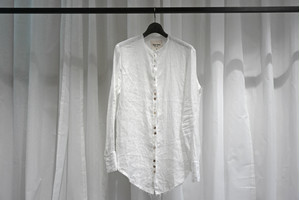 Marc Point / NO COLLAR LINEN SHIRTS / WHT