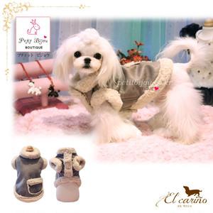 8。Petit Bijou【正規輸入】犬 服 スエードコート 秋 冬物 ダックス