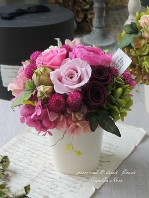 バラのポットアレンジメント/グラマラスピンク/プリザーブドフラワー/お誕生日のお祝い・送別の贈り物/【即日発送】【お届け日指定可能】